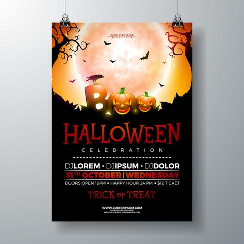 Boo, Halloween Party flyer illustration  vector