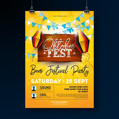 Oktoberfest Party Flyer Design with Typography Lettering