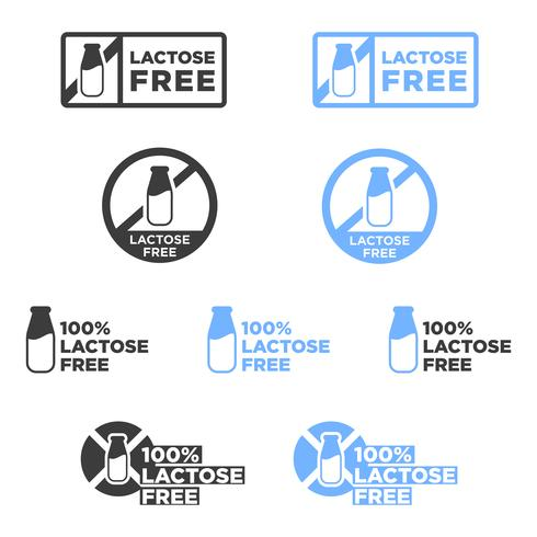 Ensemble d'icônes sans lactose.