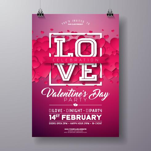 Valentines Day Party Flyer Design con amor