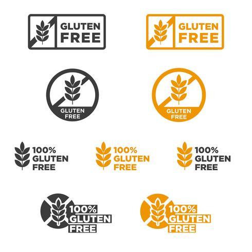 Gluten free icons set.