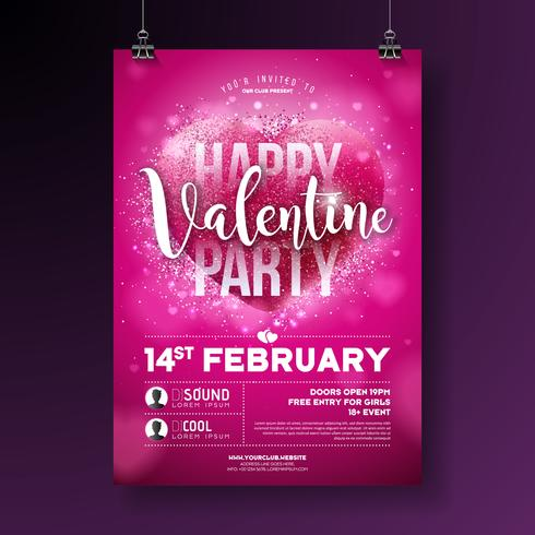 Valentines Day Party Flyer Illustration  vector