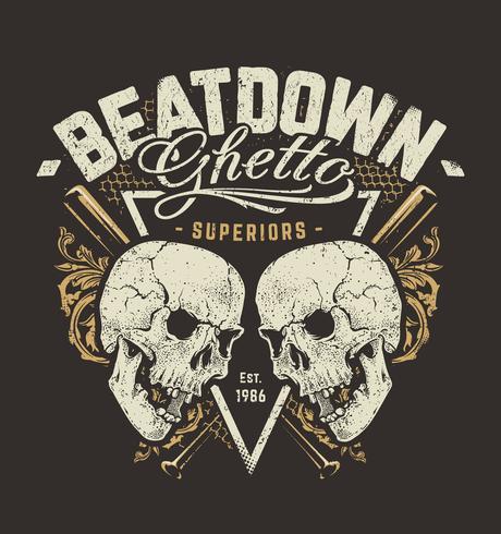 Grunge Design mit Totenköpfen