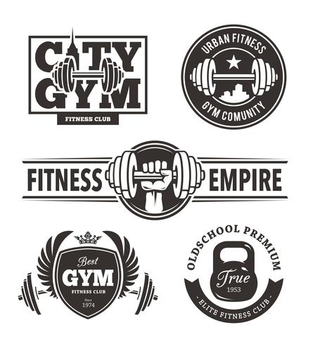 Set di emblemi fitness vettore