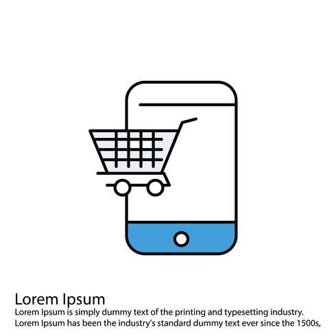 Vektor-Warenkorb-Symbol Linie gefüllt perfekte Symbol Vektor oder Pigtogram Illustration