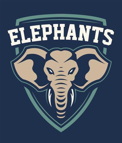projeto do emblema do esporte da mascote do elefante