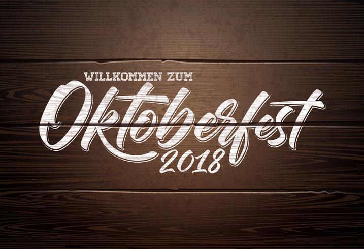 Ilustración de Oktoberfest sobre fondo de madera vintage