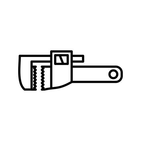 Icono de línea negra de llave inglesa