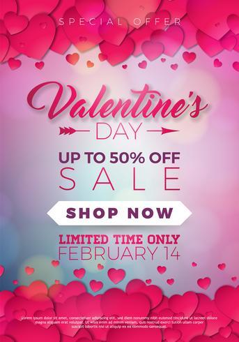 De verkoopillustratie van de valentijnskaartendag met harten vector