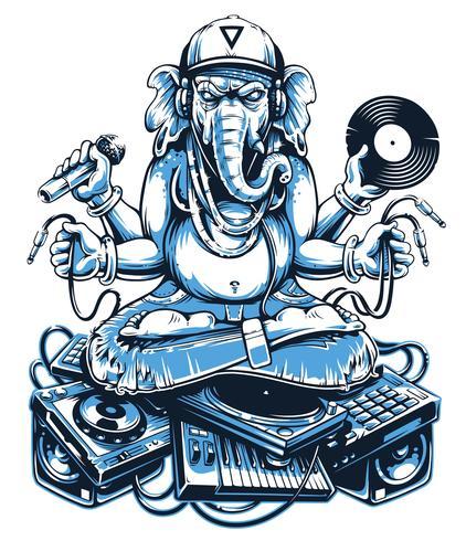Ganesha Music Vector Art