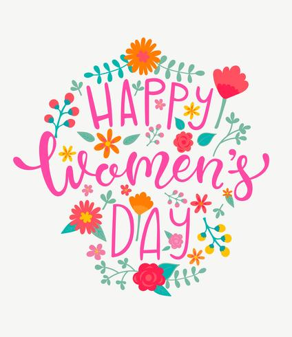 Happy Women's day card, handdrawn lettering. vector