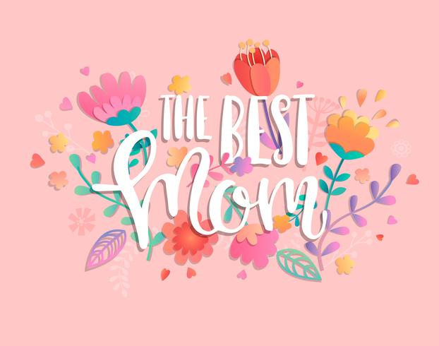 The best mom with handdrawn lettering. vector