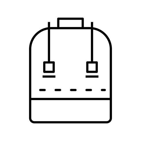 schooltas lijn zwart pictogram