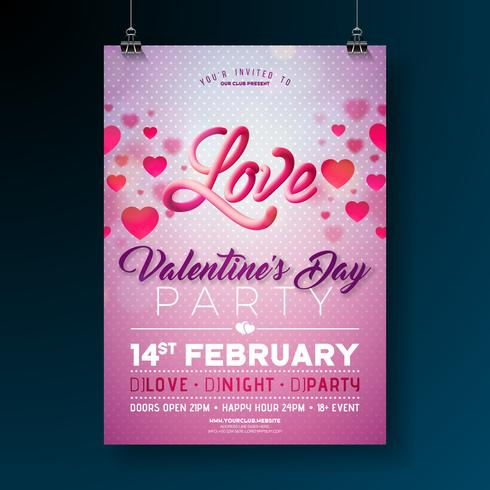 Vektor Valentines Day Party Flyer Design