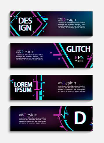 Set of modern banners and flyers with glitch style