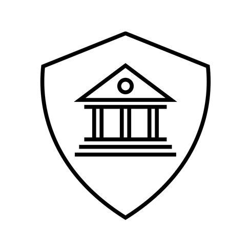 Icono de línea de seguridad negro