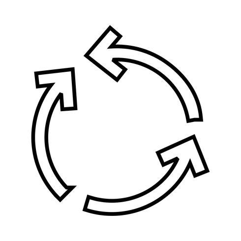 Cyclus pijl lijn zwart pictogram