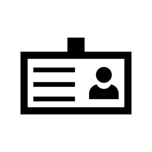 Icona del glifo con carta d'identità nera