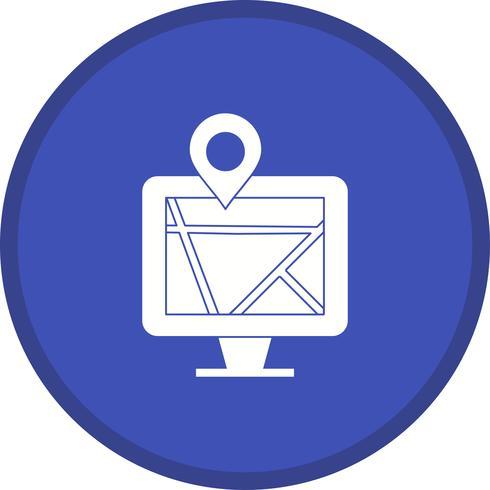 Mappa sull'icona monitor riempita vettore
