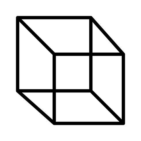 Cube line black icon