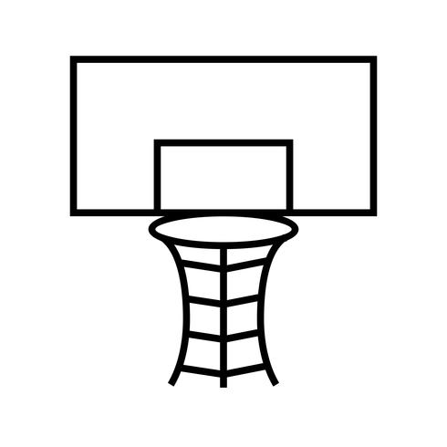 Basketbal hoepel lijn zwart pictogram