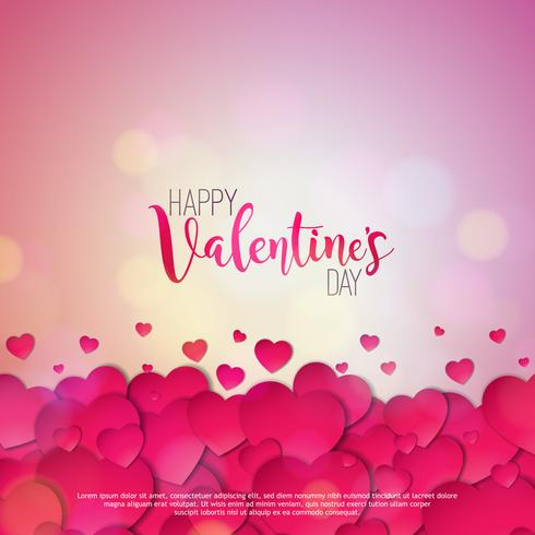 Happy Valentines Day Design with Red Hearts  vector