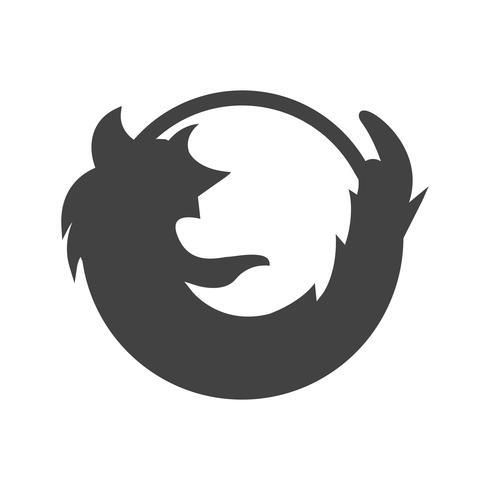 Ícone de glifo de logotipo preto do Firefox vetor
