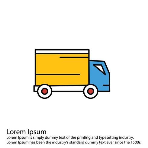 Ícone de caminhão de vetor linha preenchido ícone perfeito vetor ou ilustração de Pigtogram