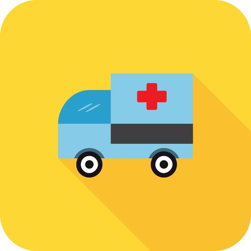 Sombra longa plana de ambulância vetor