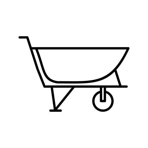 icona linea nera del carrello di cemento vettore