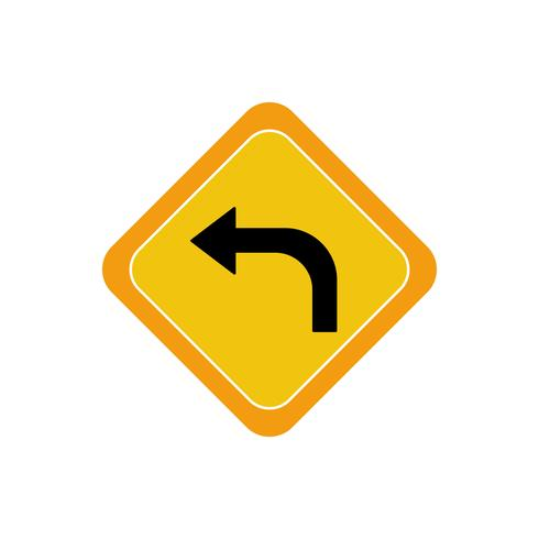 Left turn flat multi color icon