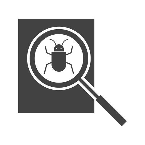 Cerca icona del glifo Bug nero vettore