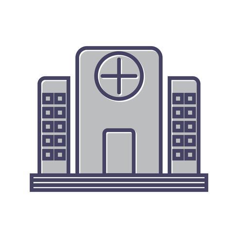 Icône de ligne remplie d'hôpital