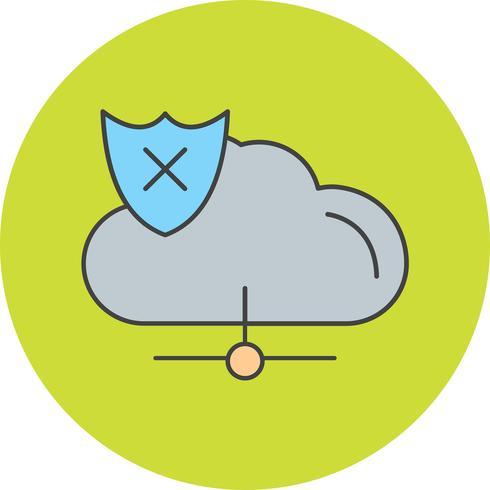 icono de vector nube insegura