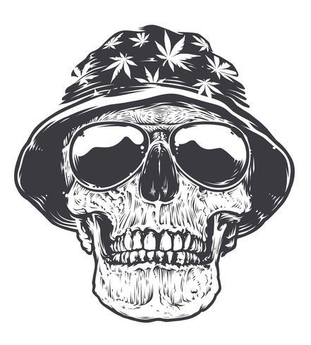 teschio rasta in cappello e occhiali da sole
