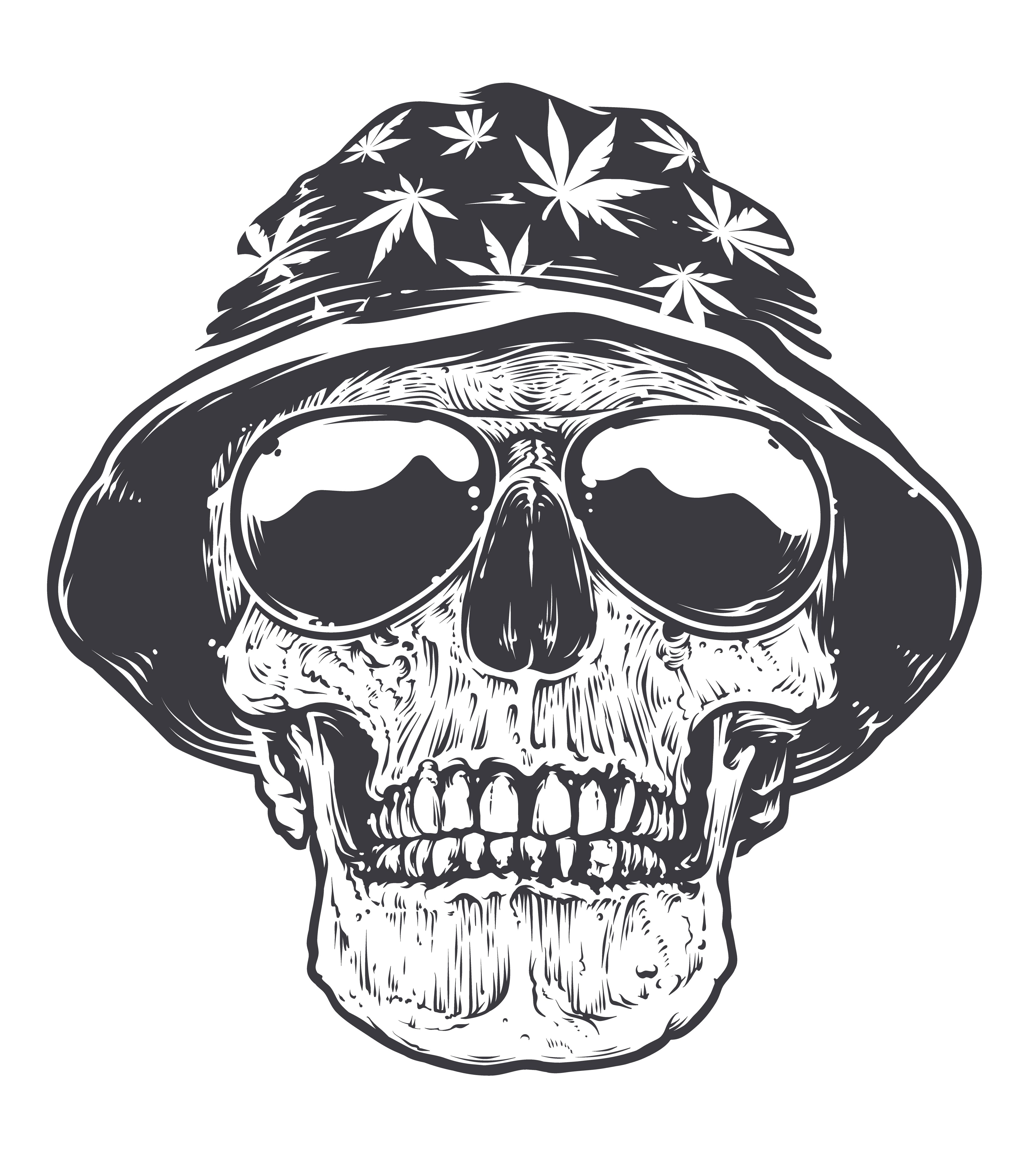 rasta skull in hat and sunglasses download free vector