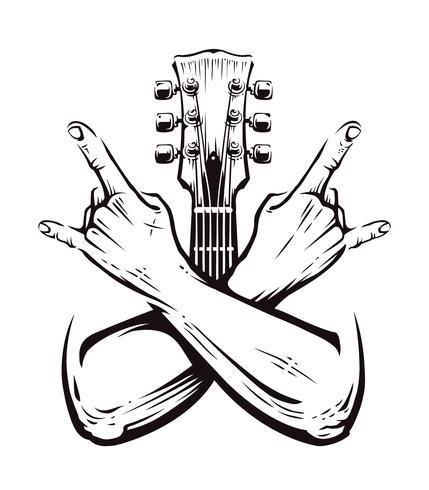 rock cruzou as mãos vector