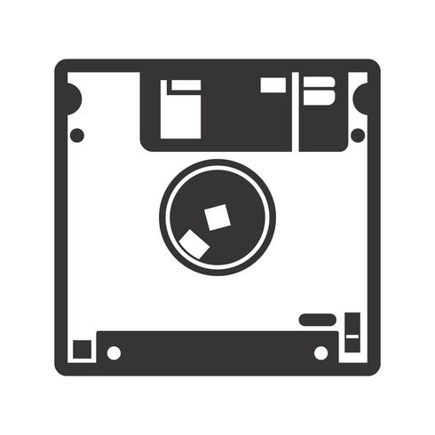 Diskette glyph zwart pictogram vector