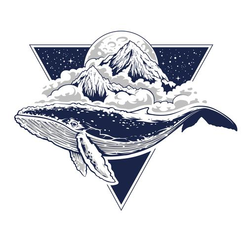 Whale Surreal Vector Art
