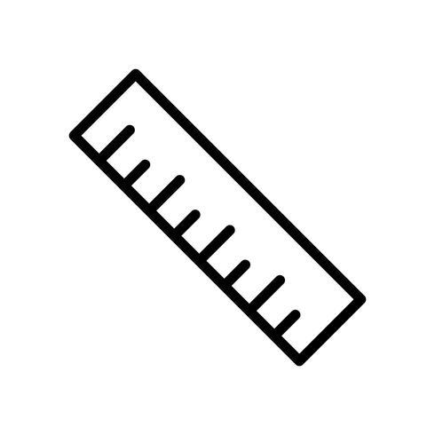Icona linea nera righello vettore