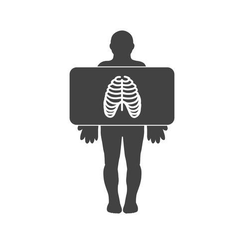 Peito x ray glyph ícone preto