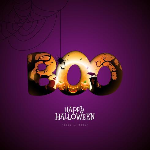 Boo, design feliz de Halloween vetor