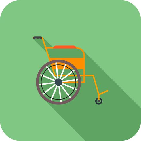 Ícone de sombra longa plana de cadeira de rodas vetor