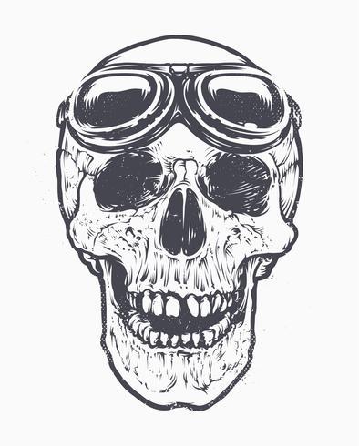 Arte do piloto do crânio vetor