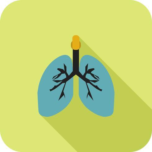 Lunge flach lange Schatten Symbol