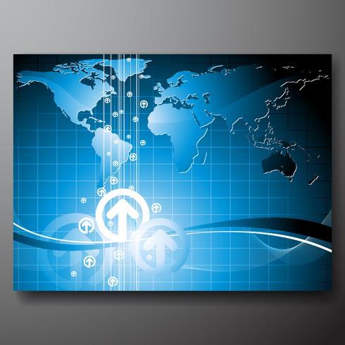 Illustrazione di affari con la mappa del mondo
