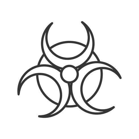 Icono de línea de peligro biológico negro vector