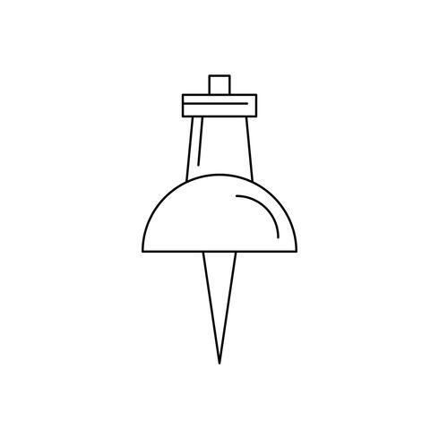 Push pin line black icon