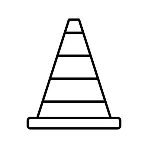Construction cone line black icon vector