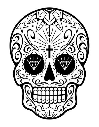 Caveira mexicana de vetor com padrões